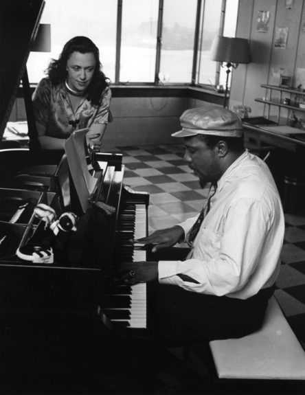 Thelonious Monk playing for close friend, Baroness Pannonica de Koenigswater in May of 1959.