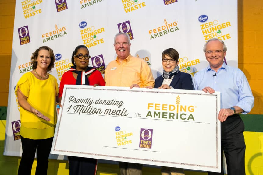 Jessica Adelman, Kroger's social impact officer; Oprah Winfrey; Kurt Reiber, Freestore Foodbank's president and CEO; Kelli Walker, Feeding America's corporate partnerships director; and Rodney McMullen, Kroger's chairman and CEO seen at Kroger's Zero Hunger Zero Waste anniversary celebration at the Freestore Foodbank on Tuesday, Sept. 11, 2018 in Cincinnati. (Photo by Chris Cone/Invision for The Kroger Co./AP Images)