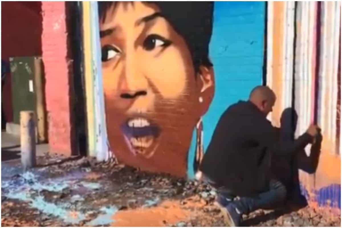 Aretha Franklin, mural, vandalized