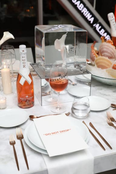 Table set up at launch of Moët & Chandon Nectar Impérial Rosé c/o Virgil Abloh™ in New York City (Photo Credit: BFA)