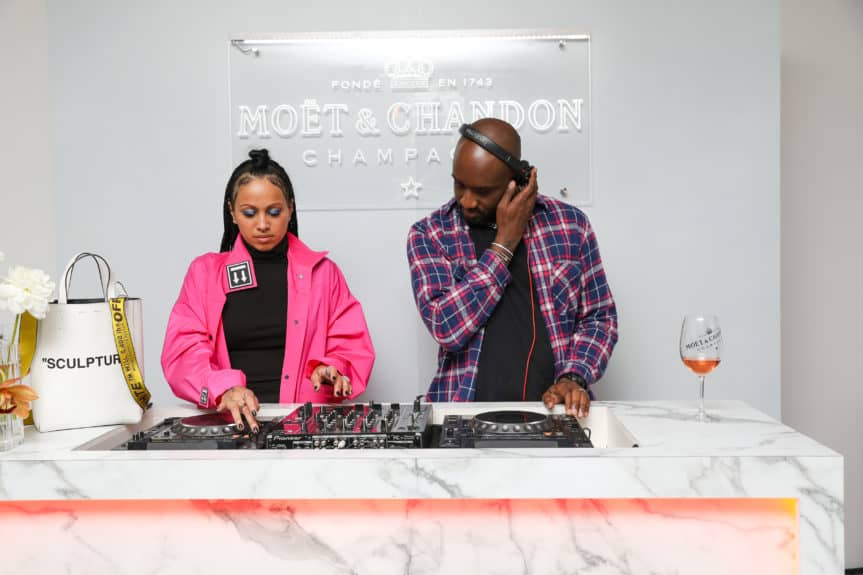 Venus X, Virgil Abloh deejayijng at launch of Moët & Chandon Nectar Impérial Rosé c/o Virgil Abloh™ in New York City  (Photo Credit: BFA)