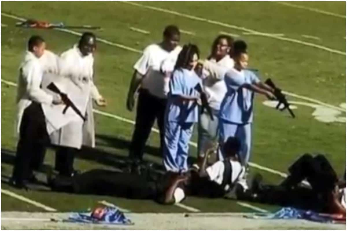 Mississippi high school, band, skit, police, guns