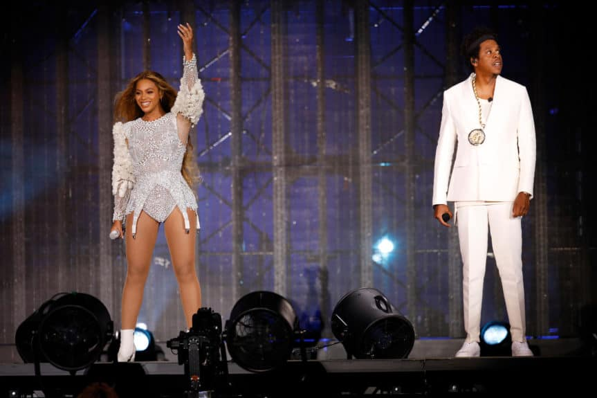 ARLINGTON - SEPTEMBER 11: Beyonce and Jay-Z perform on the 'On The Run II' tour at AT&T Stadium on September 11, 2018 in Arlington, Texas. (Photo by Raven Varona/Parkwood/PictureGroup)