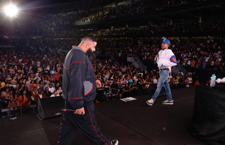CHICAGO - AUGUST 10: DJ Khaled and Chance the Rapper performs on the 'On The Run II' tour at Soldier Field Stadium on August 10, 2018 in Chicago, Illinois. (Photo by Andrew White/Parkwood/PictureGroup)