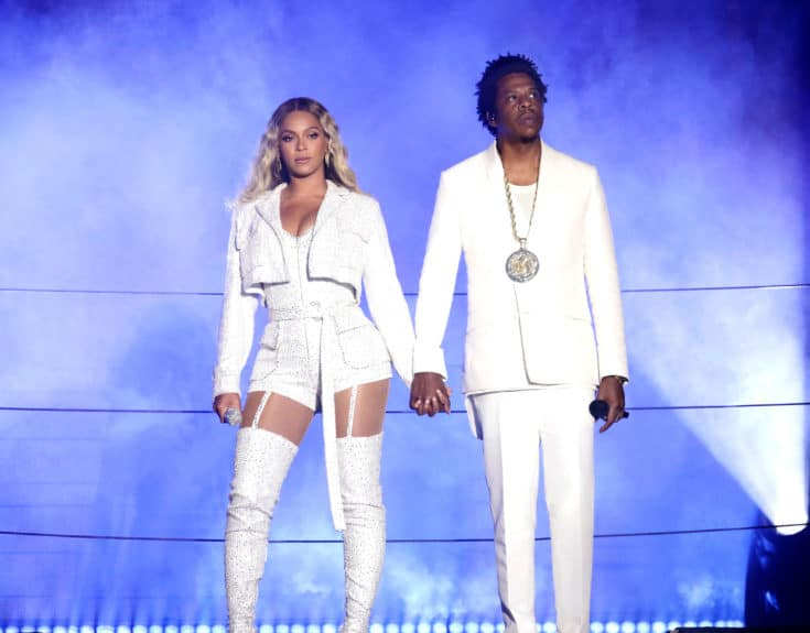 CLEVELAND - JULY 25: Beyonce and Jay-Z perform on the 'On The Run II' tour at First Energy Stadium on July 25, 2018 in Cleveland, Ohio. (Photo by Raven Varona/Parkwood/PictureGroup)