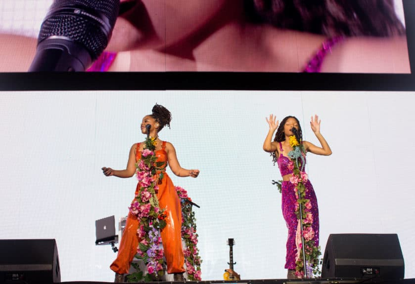 PHOENIX - SEPTEMBER 19: Chloe X Halle perform on the 'On The Run II' tour at the University of Phoenix Stadium on September 19, 2018 in Phoenix, Arizona. (Photo by Robin Harper/Parkwood/PictureGroup)