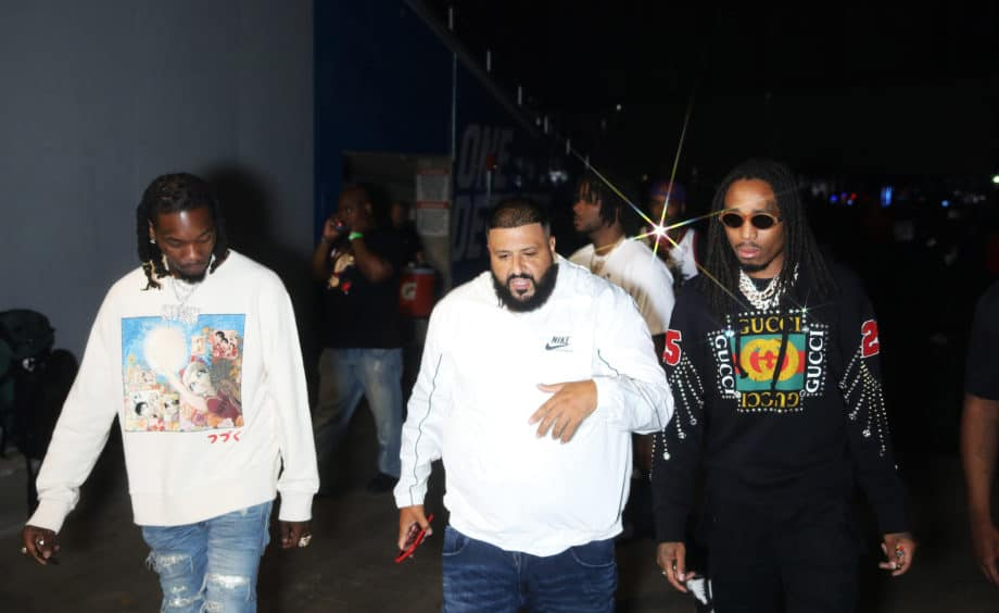 DETROIT - AUGUST 13: DJ Khaled and Migos  on the 'On The Run II' tour at Ford Field on August 13, 2018 in Detroit, Michigan. (Photo by Raven Varona/Parkwood/PictureGroup)