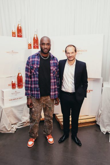 Virgil Abloh & Vice President of Moët & Chandon USA Renaud Butel on the red carpet for the launch of Moët & Chandon Nectar Impérial Rosé c/o Virgil Abloh™ in New York City (Photo Credit: Kenneth L. Dixon)