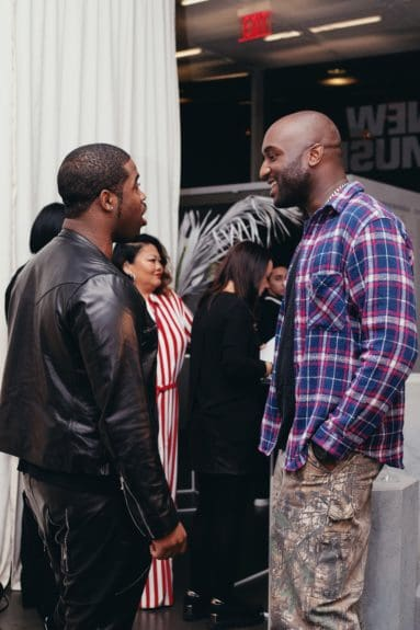 A$AP Ferg & Virgil Abloh during cocktail hour for the launch of Moët & Chandon Nectar Impérial Rosé c/o Virgil Abloh™ in New York City (Photo Credit: Kenneth L. Dixon)