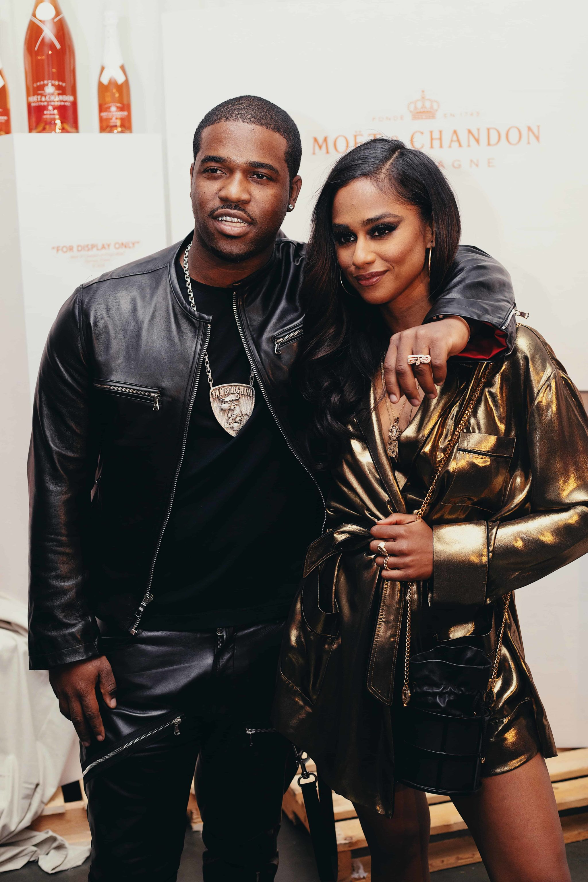 A$AP Ferg & Vashtie at cocktail hour for the launch of Moët & Chandon Nectar Impérial Rosé c/o Virgil Abloh™ in New York City (Photo Credit: Kenneth L. Dixon)