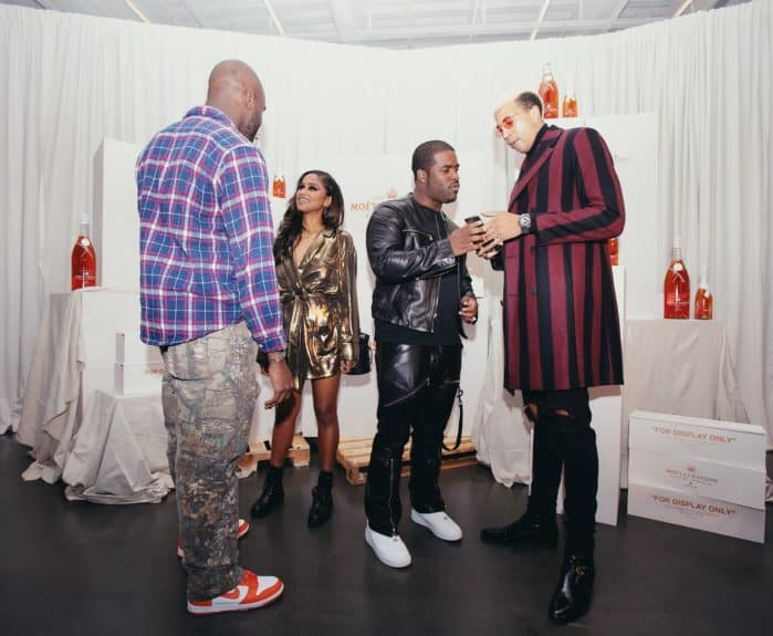 (left to right) Virgil Abloh, Vashtie, A$AP Ferg, Miles Chamley-Watson at the launch of Moët & Chandon Nectar Impérial Rosé c/o Virgil Abloh™ in New York City (Photo Credit: Kenneth L. Dixon)