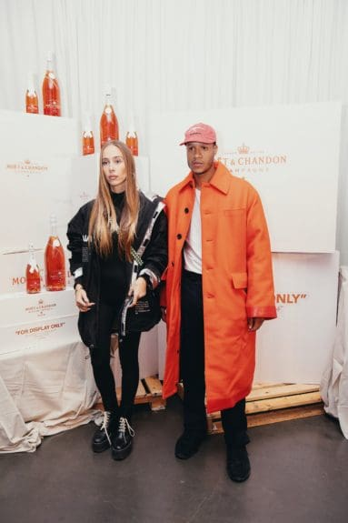Sabrina Albarello & Heron Preston at the launch of Moët & Chandon Nectar Impérial Rosé c/o Virgil Abloh™ in New York City (Photo Credit: Kenneth L. Dixon)