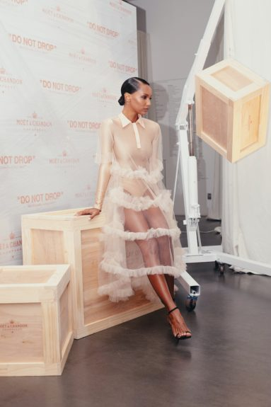 Jasmine Tookes at the launch of Moët & Chandon Nectar Impérial Rosé c/o Virgil Abloh™ in New York City (Photo Credit: Kenneth L. Dixon)