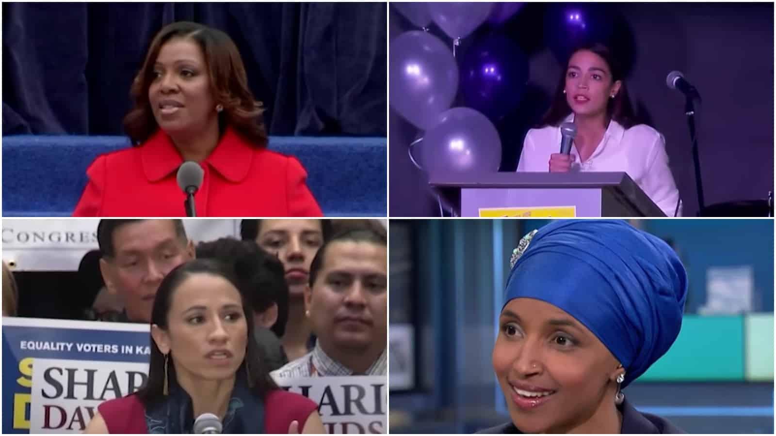 Letitia Tish James, alexandria ocasio-cortez, Ilhan Omar, Sharice Davids, midterm elections, women